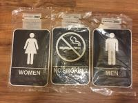 No Smoking/Employees Must Wash Hands/Male,Female Bathroom Signs