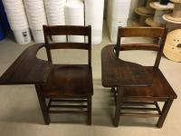 Vintage wooden school desk chairs