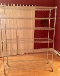 Rolling metal wire shelves